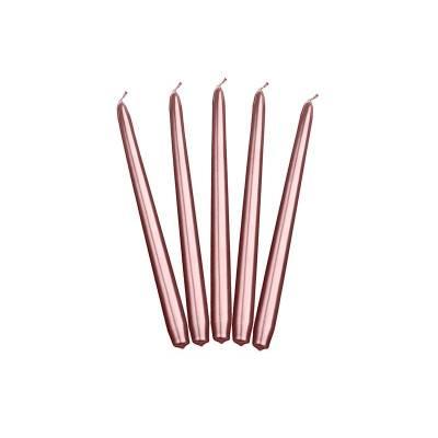 Bougies coniques métalliques or rose 24cm