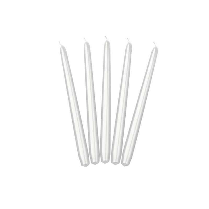 Bougies coniques métalliques nacrées 24 cm