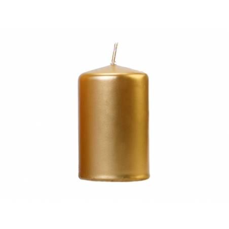 Bougie de pilier métallique or 10 x 65 cm