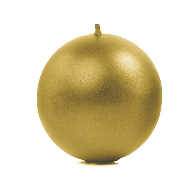 Bougie Sphère métallique or 10cm