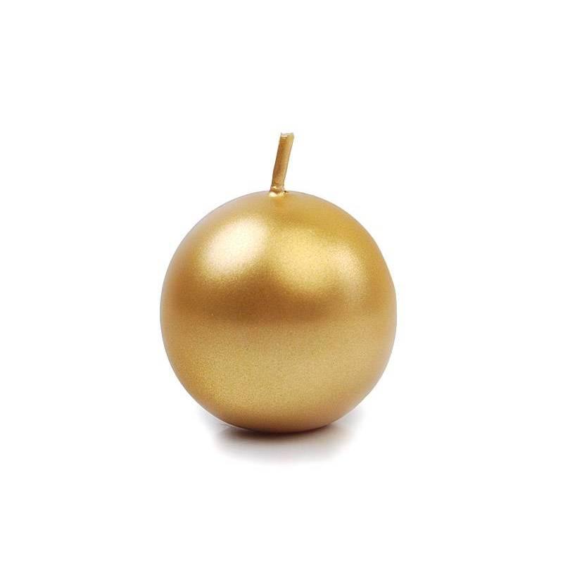 Sphère de bougie métallique or 45 cm