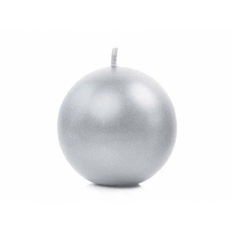 Sphère de bougie métallique argent 6cm