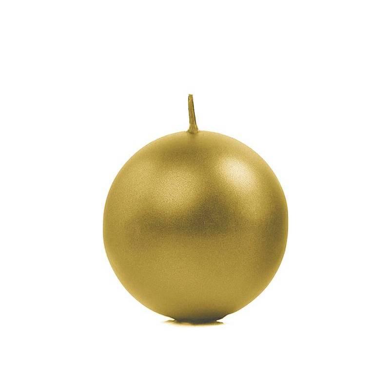 Bougie Sphère métallique or 6cm