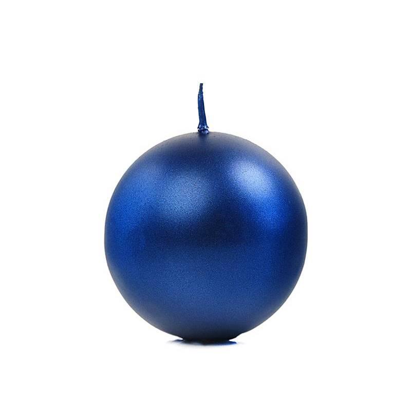 Bougie Sphère métallique bleu marine 6cm