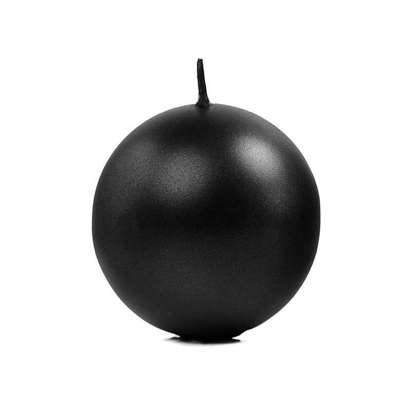 Bougie Sphère métallique noire 8cm
