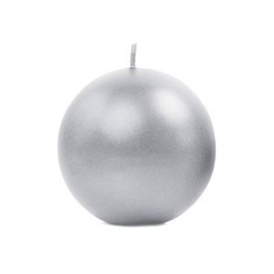 Bougie Sphère métallique argentée 8cm