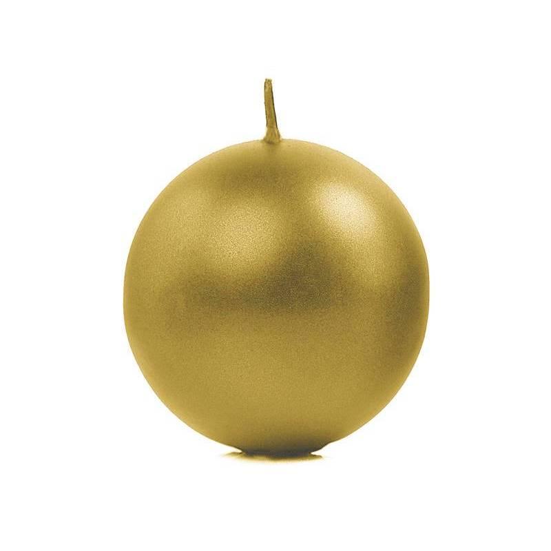Bougie Sphère métallique or 8cm