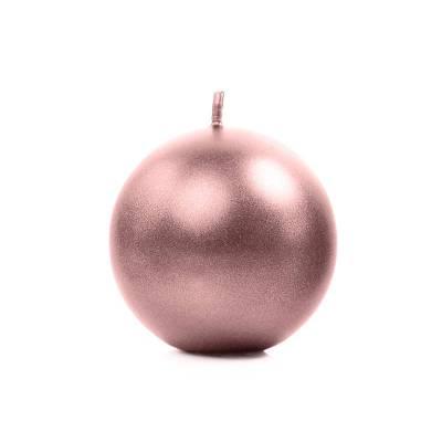 Bougie Sphère métallique or rose 8cm