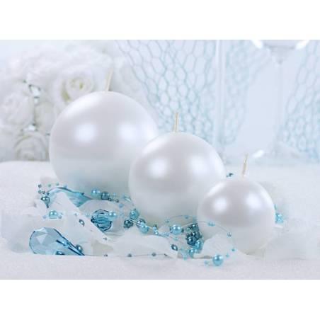 Bougie Sphère métallique perle 8cm