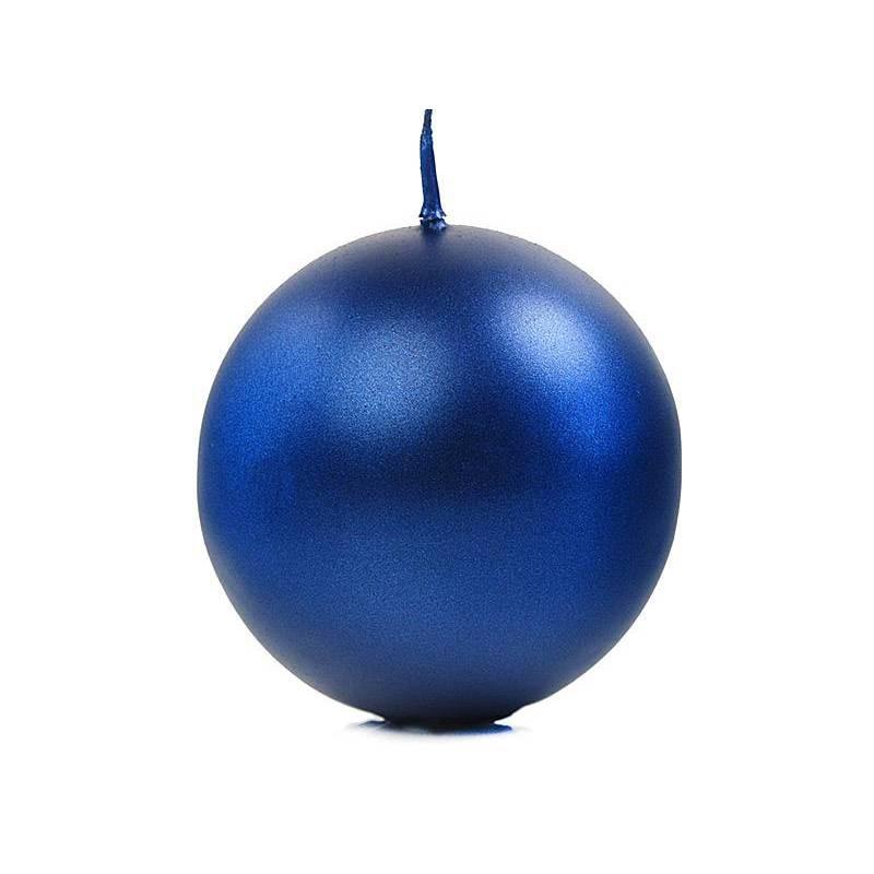 Bougie Sphère métallique bleu marine 8cm