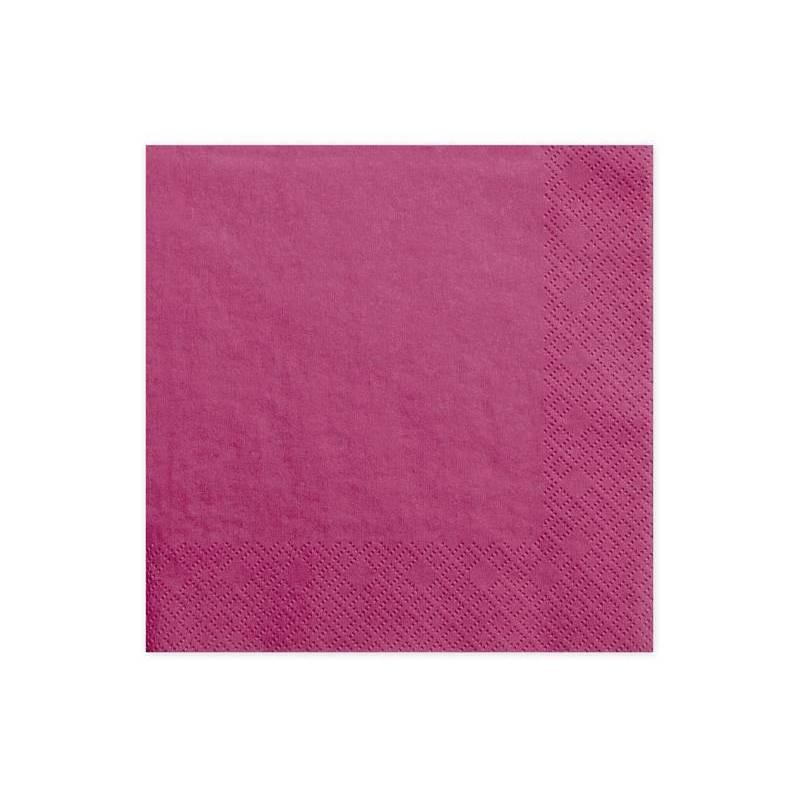 Serviettes 3 couches rose foncé 33x33cm