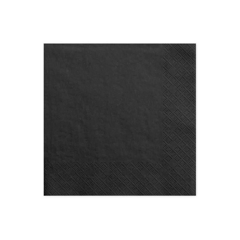 Serviettes de table 3 épaisseurs noires 33x33cm