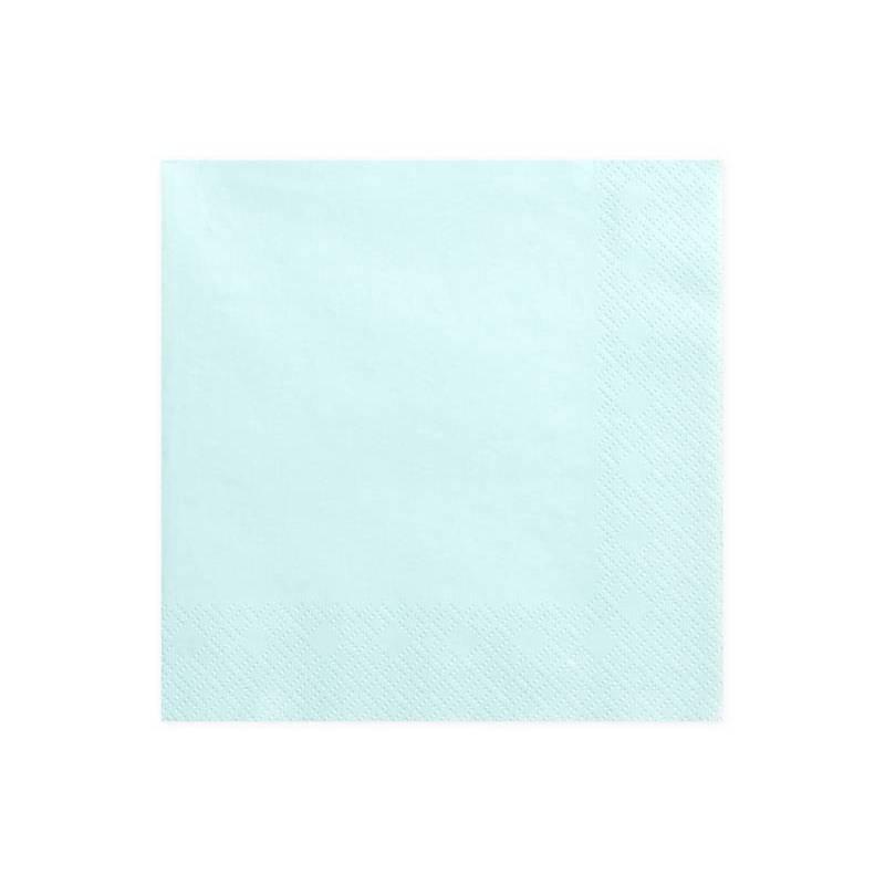 Serviettes de table 3 épaisseurs bleu ciel 33x33cm