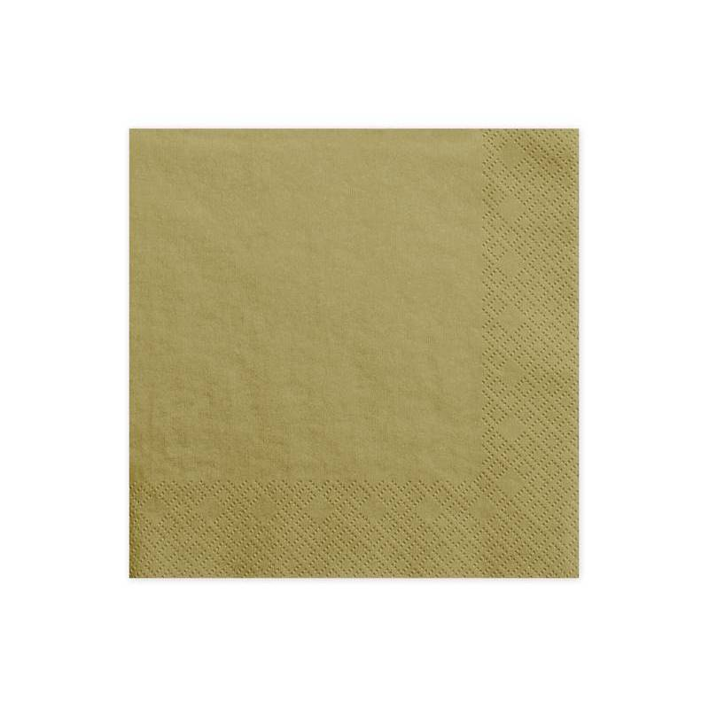 Serviettes 3 couches doré 33x33cm