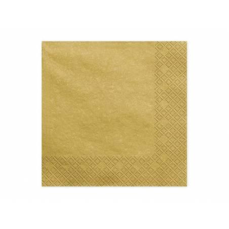 Serviettes 3 couches métal doré 33x33cm
