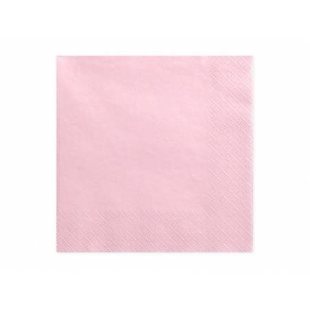 Serviettes 3 couches rose clair 33x33cm