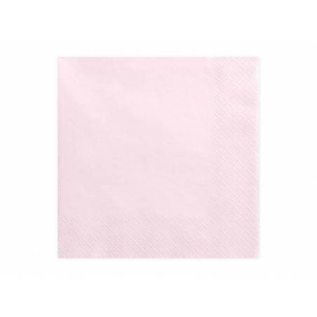 Serviettes 3 couches rose poudré clair 33x33cm