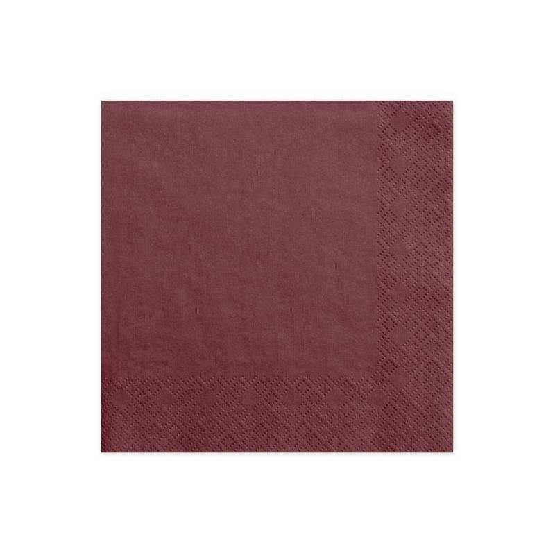 Serviettes 3 couches rouge profond 33x33cm