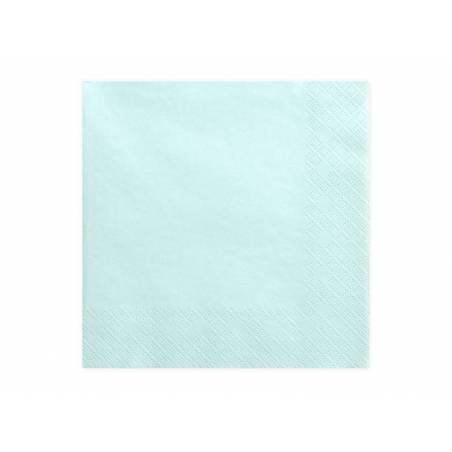 Serviettes 3 couches turquoise pâle 33x33cm