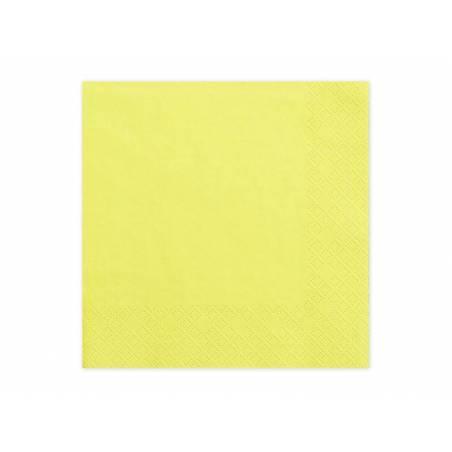 Serviettes 3 couches jaune 33x33cm