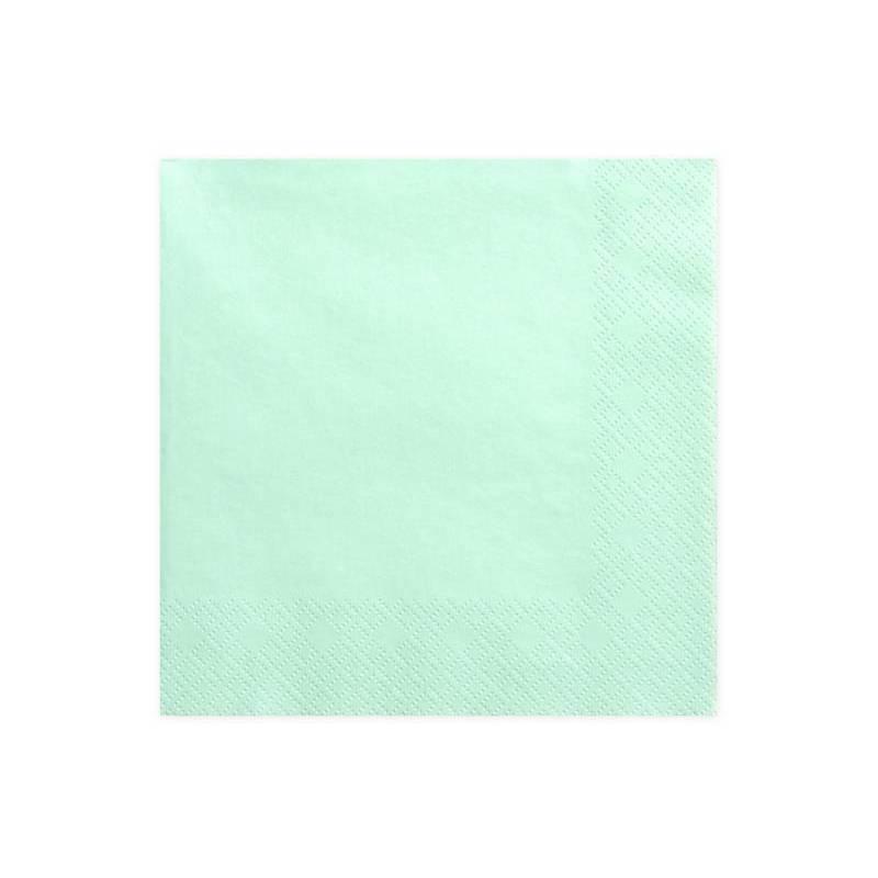 Serviettes 3 couches menthe 33x33cm
