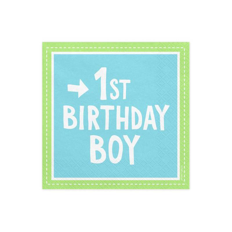 Serviettes 1er anniversaire garçon 33x33 cm