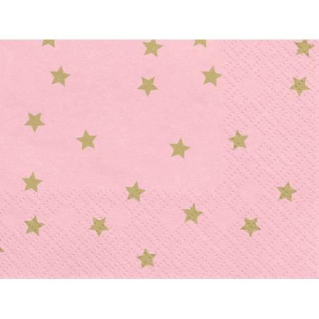Serviette Stars rose clair 33x33cm