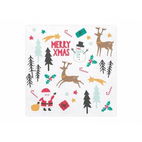 Serviettes Joyeux Noël 33x33cm
