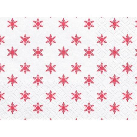 Serviettes Flocons de neige rouge 33x33cm