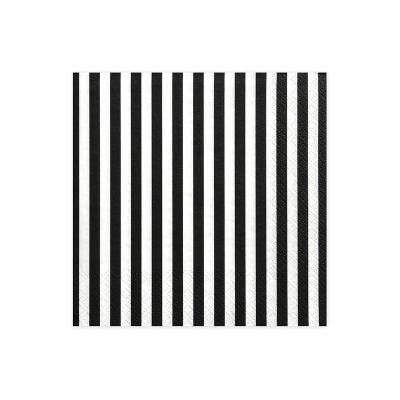 Serviette à rayures noir 33 x 33 cm