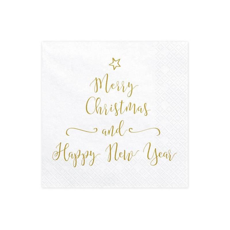 Serviettes Joyeux Noël et Bonne Année 33x33cm
