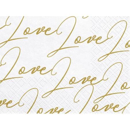 Serviettes Love blanches 33x33cm