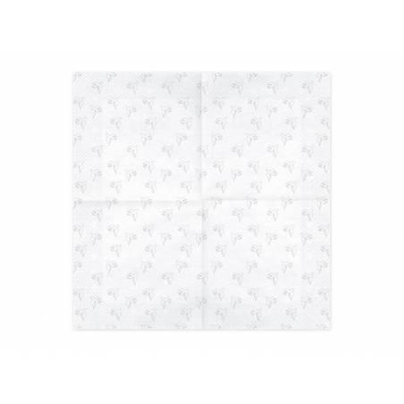 Serviettes Première Communion - Colombe 33x33cm argent