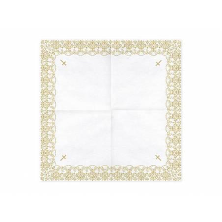 Serviette Première Communion - Ornement 33x33cm doré