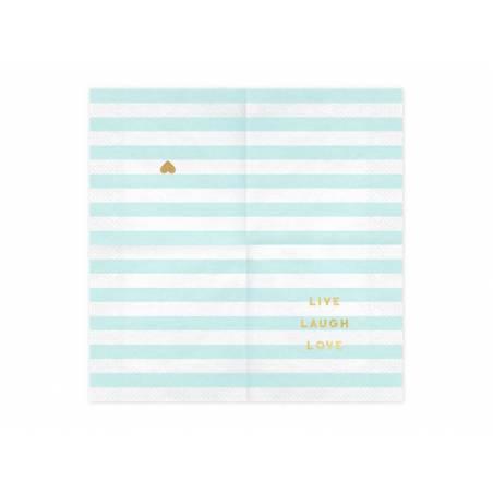 Serviettes Yummy - Live Laugh Love bleu clair 33x33cm