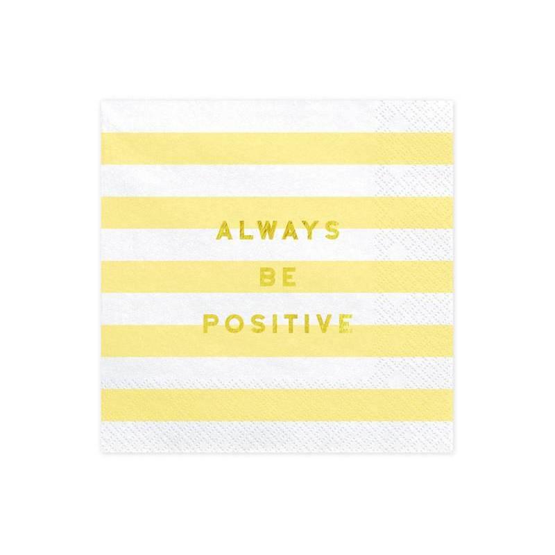 Serviette Yummy - Soyez toujours positif jaune clair 33x33cm