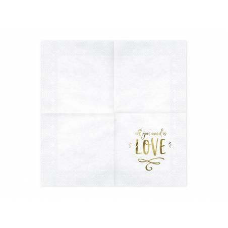 Serviettes de table - Tout ce dont vous avez besoin c'est de l'amour blanc 33x33cm