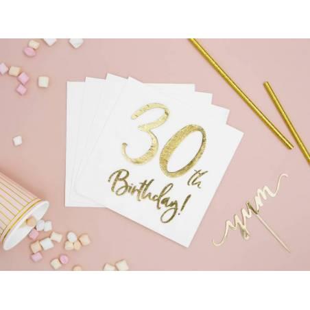 Serviette 30e anniversaire blanche 33x33cm
