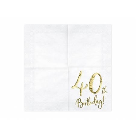 Serviette 40e anniversaire blanche 33x33cm