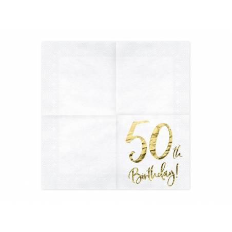 Serviette 50 ans blanche 33x33cm