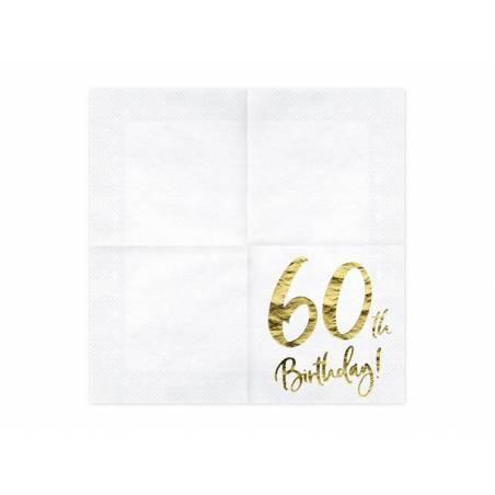 Serviette 60 ans blanche 33x33cm