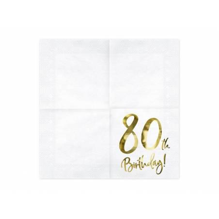 Serviettes 80e anniversaire blanches 33x33cm