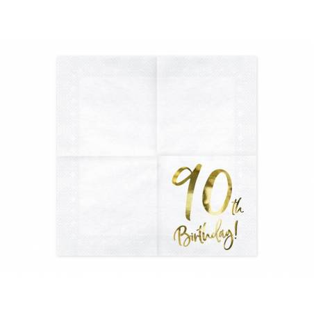Serviette 90 ans blanche 33x33cm