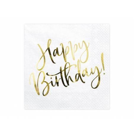 Serviette Happy Birthday blanche 33x33cm