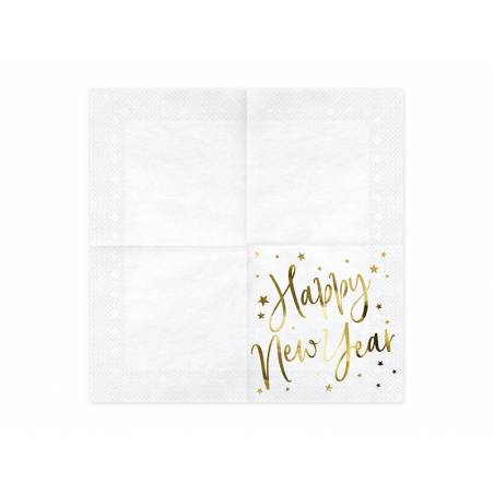 Serviettes Happy New Year blanches 33x33cm