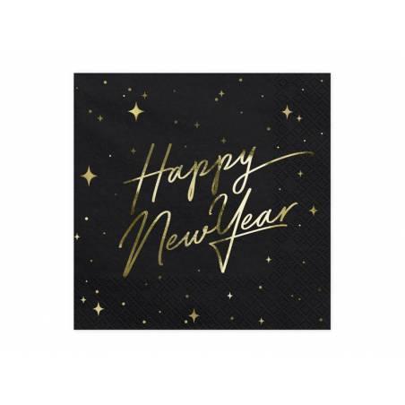 Serviette Happy New Year noire 33x33cm