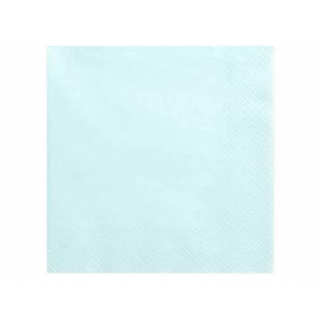 Serviettes 3 plis bleu ciel clair 40x40cm