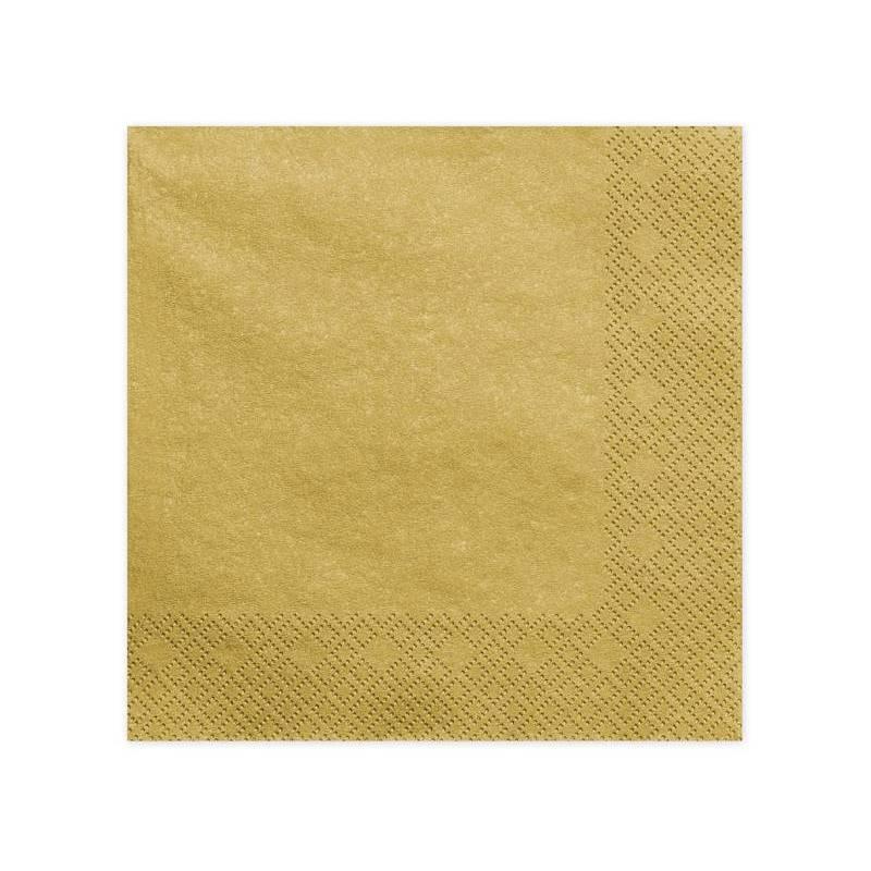 Serviettes 3 couches métal doré 40x40cm