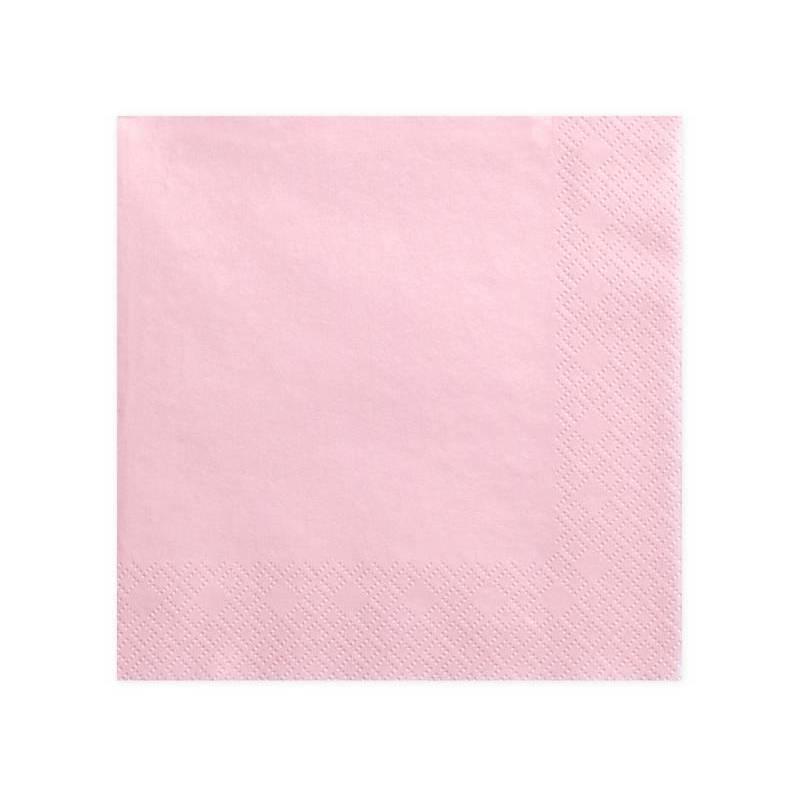 Serviettes de table 3 couches rose clair 40x40cm