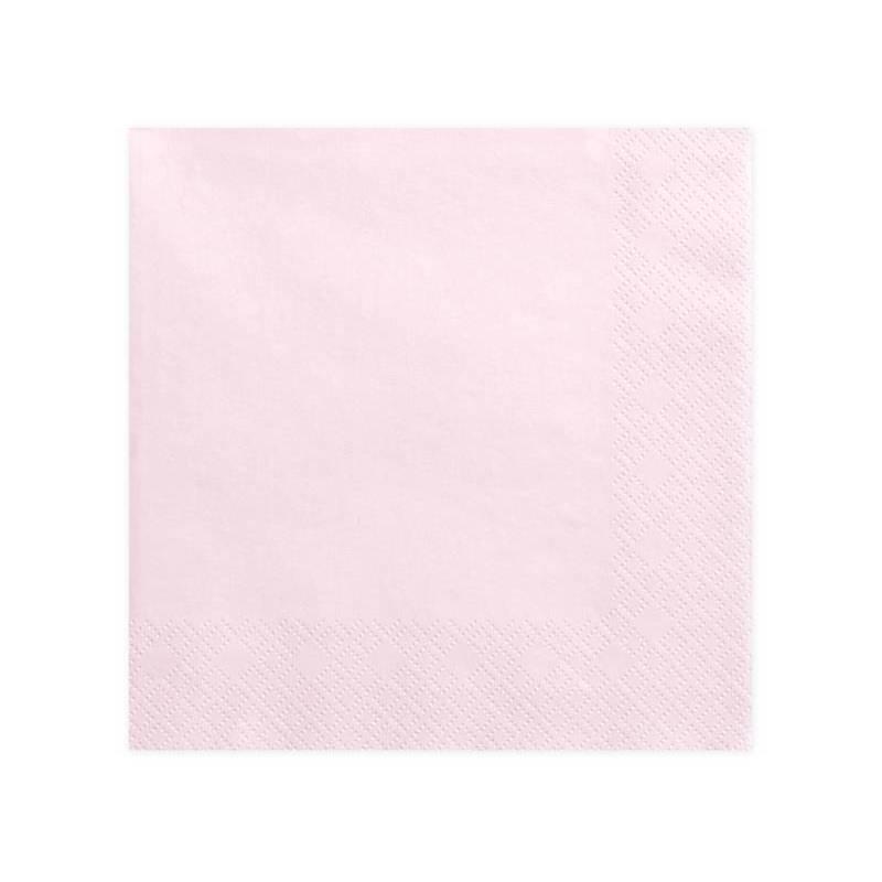Serviettes 3 couches rose poudré clair 40x40cm